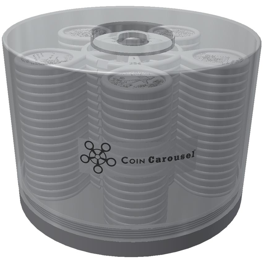 Coin Carousels in a container with lid